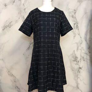 Maison Jules Navy White Grid A-Line Dress